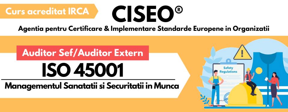 Curs Auditor/Auditor Sef ISO 45001:2018, acreditat IRCA (GOLD) VIDEOCONFERINTA